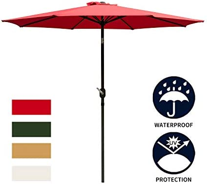 Ainfox 9FT Patio Umbrella, Outdoor Table Umbrella Yard Umbrella with 8 Steel Umbrella Ribs, Push Button Tilt, Waterproof Prevent Bask in for Garden, Indoor, Outdoor Without Base Wine Red