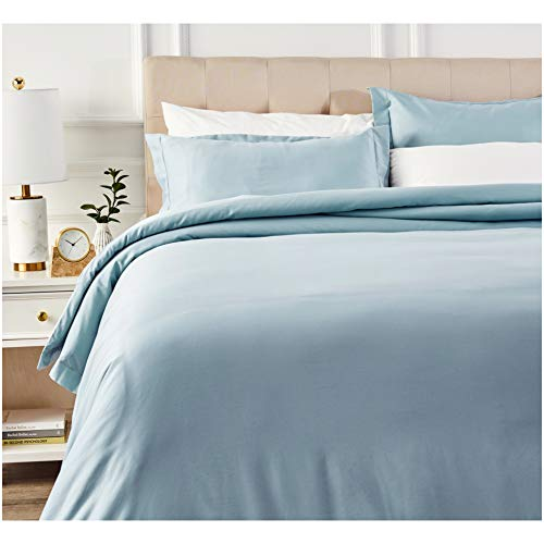 AmazonBasics 400 Thread Count Cotton Duvet Cover Bed Set with Sateen Finish - Full or Queen, Smoke Blue (Blue Full Duvet)