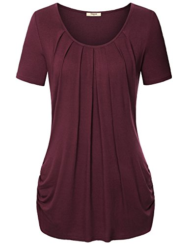 Timeson T Shirts for Women Women's Short Sleeve Drape Front Knit Shirt Wine X-Large (Drape Front Knit)