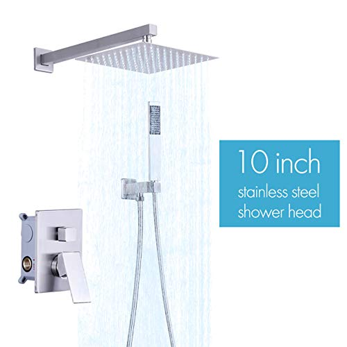 KES Pressure Balancing Rain Shower System Shower Faucet Complete Set Square Brushed Nickel (Including Shower Faucet Rough-In Valve Body and Trim), XB6230-BN