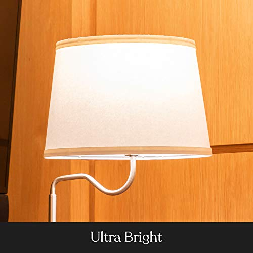 Brightech Madison - Narrow Nightstand with Built in Lamp, USB Port & Shelves for Bedrooms - Mid Century Modern End Table & Attached Floor Lamp for Living Rooms - Side Table & Reading Light