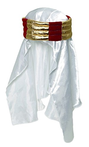 Jacobson Hat Company Men's Satin Sheik Headpiece, White, Adult