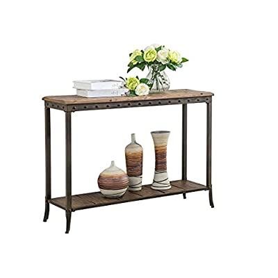 Trenton 39-inch Distressed Pine and Metal Console Table