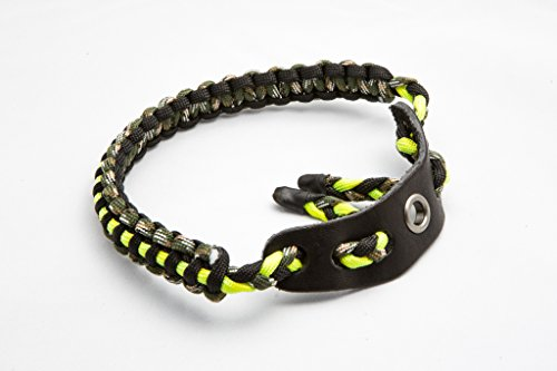 Bow Wrist Sling 550 Paracord - Survival Hunting Shooting - Durable Leather with Grommet (Fluorescent Green)