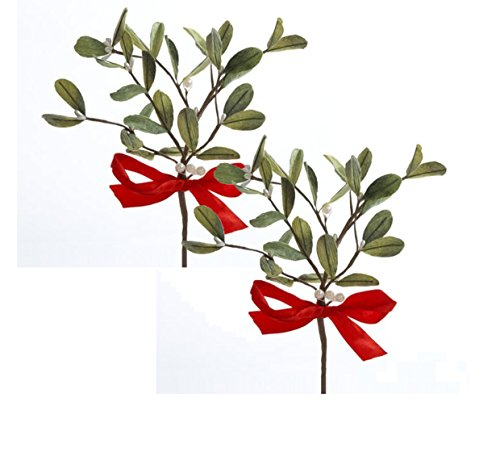 Artificial Mistletoe Floral Pick With Red Satin Bow, Set of 2