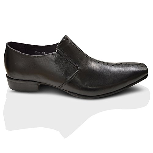 GUCINARI Hommes 100%Cuir Italian élégant Bout Pointu À Enfiler Chaussures Habillées Taille - Noir, EU 40.5