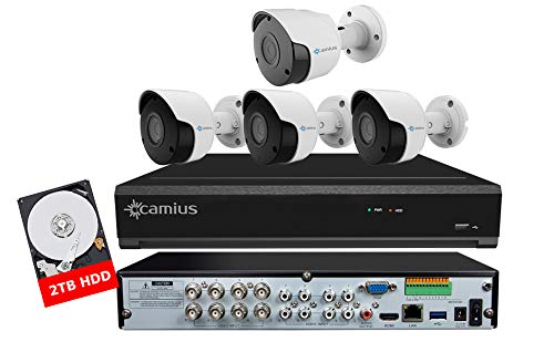 Camius 4K 8 Channel DVR Home Outdoor Security Camera System w/HDD 2TB, 4 Wired BNC Surveillance Camera Bullets(3X 5MP, 1x 4K Camera),Mobile apps, PC, Mac, Web Browser Compatible (Supports IP Camera)