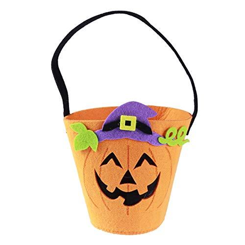 SUPVOX Halloween Pumpkin Candy Bucket Non-woven Sweet Goodies Sugar Cookie Tote Bag Trick or Treat Handbag for Kids Children -
