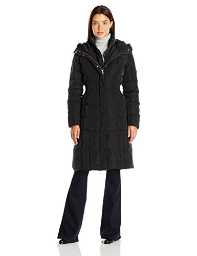 Cole Haan Women's Signature 40 in Down Coat, Black, Medium - Cole Signature Cord