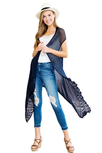 Crochet Sweater Knit Long Drape Vest Sleeveless Cardigan - Open Knitted Beachwear Bathing Swimsuit Bikini Cover Kaftan Shawl (Navy)