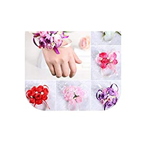 Gooding Day 2PC 5 Colors Wrist Flowers Pearl Rose Ribbon Artificial Flower Party Wedding Decoration Bride Bridesmaid Corsages Hand Flower 34