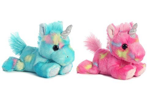 Aurora Bundle of 2 Stuffed Beanbag Animals - Blueberry Ripple Unicorn & JellyRoll Unicorn, Blue, Pink -