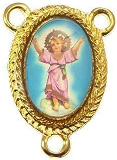 Guardian Angel center metal rosary beads finding part gold junction Catholic