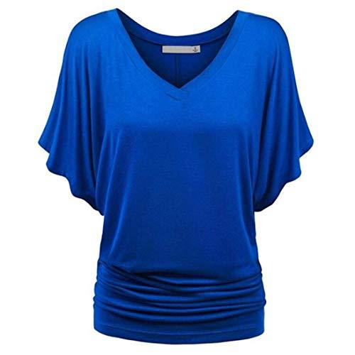 Spcial Uni T Chauve Style De Manche Plier Qualit Cou Mode Bonne Souris Elgante T Outdoor Bouffant Manches Shirts Shirts Courtes Casual Et Blau V Shirt Femme Top pfpaOrqw