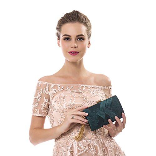 de soirée mariage à embrayage gland main sacs sac sac Red à femme main partie petite Color Silver épaule Femmes 6AZ7q