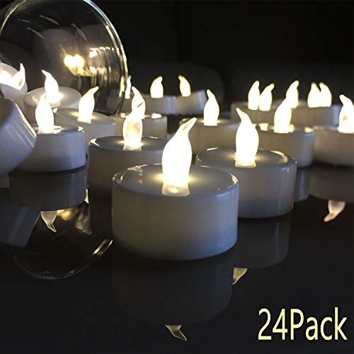 VETOUR 24pcs Tea Lights Candles,LED Tea Lights Candles, Colors Flameless Tea Lights,Steady Flameless Tealights, Long Lasting Battery Operated Candles -Decoration for Party and and Gifts Ideas