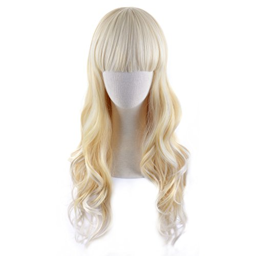 REECHO Curly Wavy Wig 24'' Long with Bangs Synthetic Hair Lolita Style for Women at Party Cosplay Costume Light Blonde Cream Yellow Multicolor Mixed by REECHO