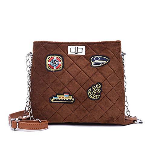 Galon marrone Chain coreana Winter Rombal Plush diagonale di Package Bag Donna Versione 2018 6rwqO76