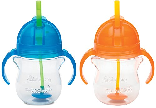 Munchkin Click Lock 7 Ounce Weighted Flexi-Straw Cup, 2 Pack, Blue/Orange
