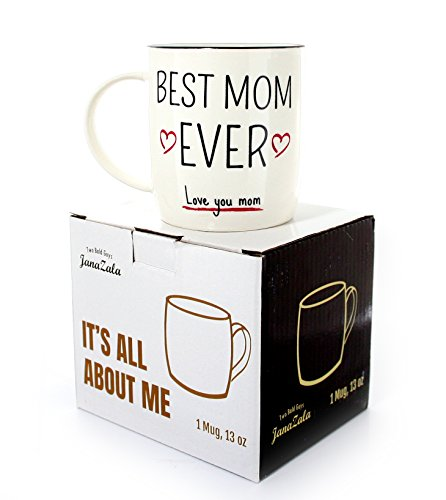 Janazala Best Mom Ever Mug, Coffee Mug For Mom, Mummy Mug, Birthday Gift Idea For Mom, Mothers Day, Christmas Gifts, Funny Present For Mummy and Wife, Ceramic, 13 oz Cup