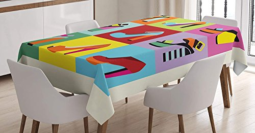 LEO BON Rectangle Tablecloth Retro Funky Stiletto Heels and Wedge Shoes Design in Pop Art Style Colorful Tiles Cotton Linen Table Cover for Kitchen Dinning Tabletop Decoration 54 W X 54 L Inches (Stilettos In The Sun)