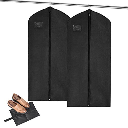 MaidMAX Garment Bags + Bonus Shoe Bag, Set of 2 Breathable Covers with Clear Plastic Label Holders & Full Length Zipper for Coats Jackets Wedding Party Dress Suit Bag 54 Inches (Plastic Trouser Zipper)