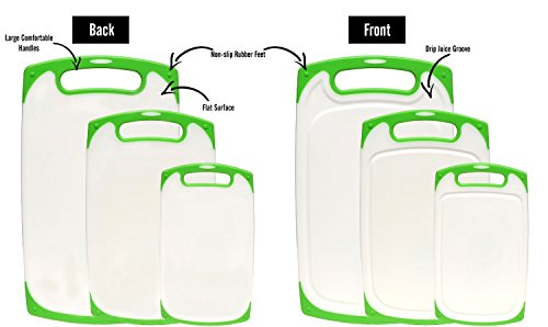 Dutis-3-Piece-Dishwasher-Safe-Plastic-Cutting-Board-Set-with-Non-Slip-Feet-and-Deep-Drip-Juice-Groove-White-with-Lime-Green