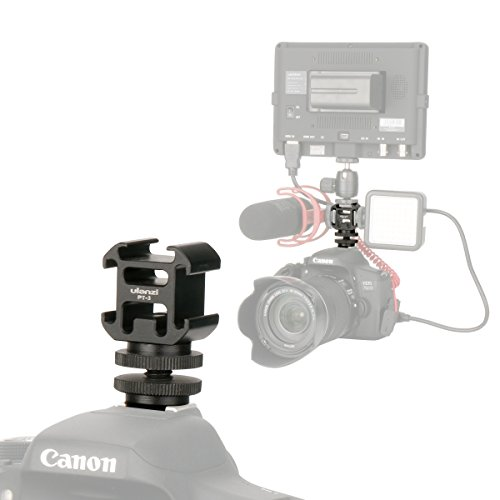 Ulanzi Aluminium Triple Cold Shoe Camera Mount Adapter Video Accessory Triple Shoe Bracket Lights, LED Monitors, Microphones, Audio Recorder & Studio Flash Video Camera ()