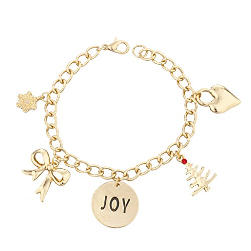 Lux Accessories Gold Tone Christmas X-Mas Joy Inspirational Charm Bracelet