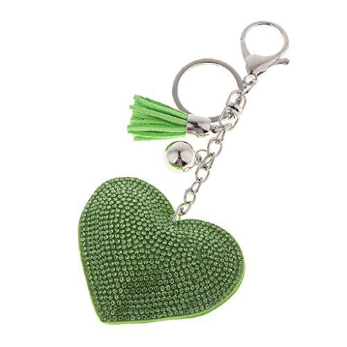 NATFUR Sparkling Key Ring Charm Purse Pendant Handbag Bag Decoration Jewelry DIY Key-Chain Holder for Girls for Gift Novelty Great Fine Lovely | Color - Green