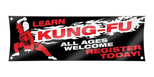 Learn KUNG FU (1ft X 3ft) Banner Enroll Sign Martial Arts School Academy Display Registration Poster