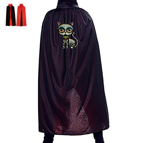 [Skull Cat Halloween Magical Cape Wizard Death Adult Vampire Cloak] (Gandalf Cat Costume)