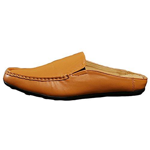 Pantofola Santimon Uomo Ciabatte Zoccolo Classico In Pelle Slip On Mocassini Per Il Tempo Libero Giallo