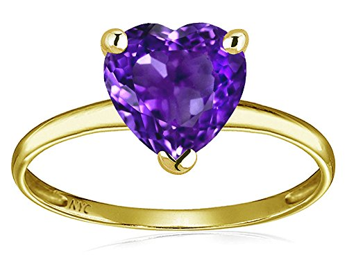 Star K Genuine Amethyst Heart Shape 8mm Solitaire Engagement Ring 14 kt Yellow Gold Size 6 Amethyst Heart Shape Solitaire