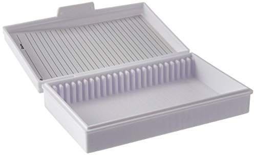 Heathrow HS15990C Microscope Slide Box, 25-Place, White