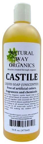 Natural Way Organics Ultra Mild Unscented Castile Soap, 16oz - Perfect for Natural Skin Care and Hair Care - Make Your Own DIY Green Cleaning Products - 100 percent Pure - No Artificial Chemicals, Fragrances or Colorants