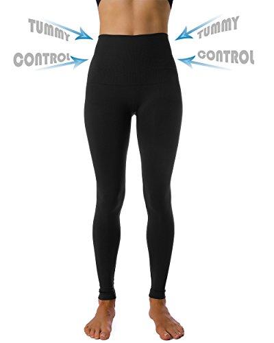 Homma High Waist Tummy Compression Control Slimming Leggings Thights (X-LARGE, BLACK)