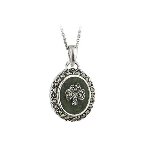 "Shamrock Necklace Marble & Marcasite 18"" Rolo Chain Irish (Marcasite Chain)"