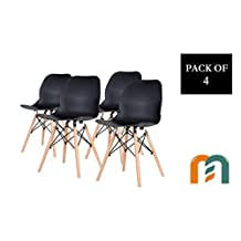 Shell Style Modern Mid Century Molded Plastic Side Dining Chair with Natural Wood Leg, Heavy Duty for Dining Room, by Mastery Mart (Set of 4, Black)