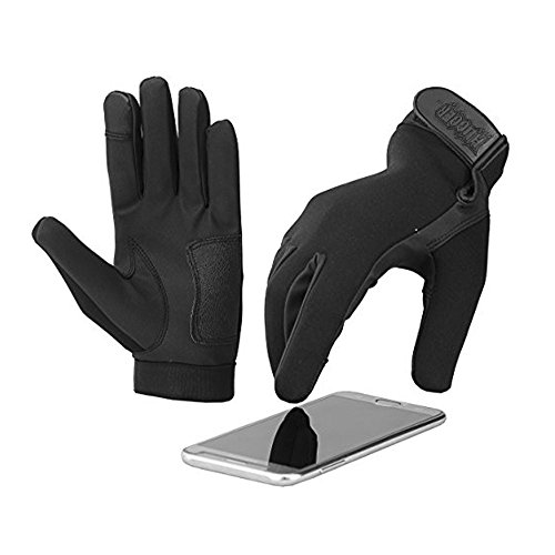 - NEW Women's 4 Finger Touch Screen Police Motorcycle Gloves with Water Resistant Neoprene Outer Shell Synthetic Leather Palm (Small, Black)