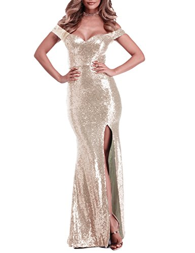 YSMei Women's Long Off The Shoulder Sequined Prom Party Dress Split Mermaid Formal Champagne Custom]()