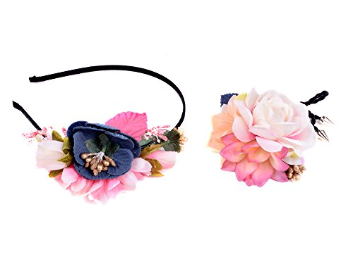 [floral fashion head bands and bridesmaid flower bracelet set for women Style Two] (Cute Halloween Names For Kittens)