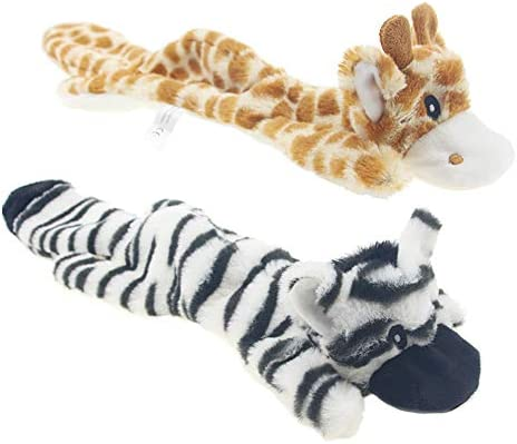 JINYJIA Squeaky Plush Dog Toy Set, No Stuffing Durable Squeaky Dog Toys for Chew and Interactive Play, for Small and Medium Dog – 2 Packs (Deer & Zebra)