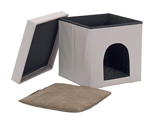 Studio Designs 61002 Paws & Purrs Collapsible Pet Bed and Ottoman, Gray