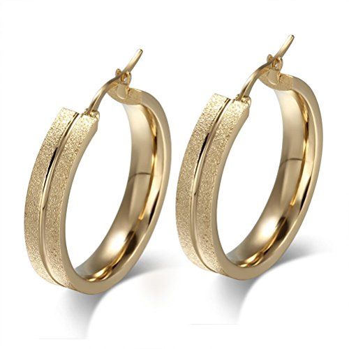 Women's 18K Yellow Gold Plated Stainless Steel Big Hoop Earring Sand Blasted Middle Notch ()