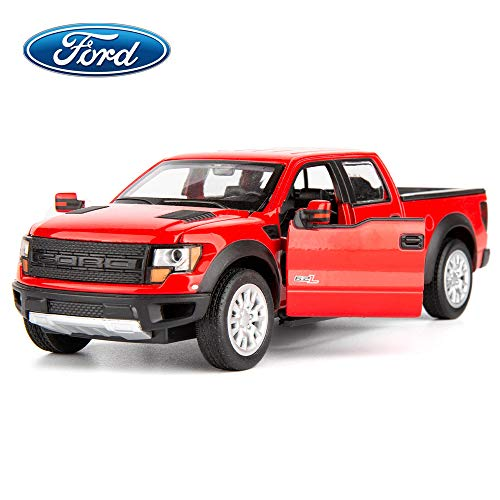 TGRCM-CZ Diecast Model Truck Toy Cars, Ford F150 Truck 1:32 Scale Alloy Pull Back Toy Car with Sound and Light Toy for Girls and Boys Kids Toys (Red) ()