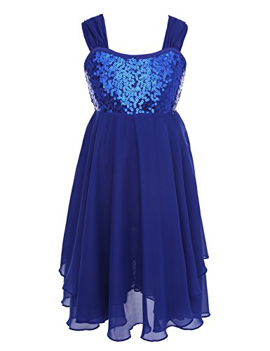 (Alvivi Girls Kids Sequined Lyrical Ballet Dance Chiffon Dress Wide Straps Leotard Irregular Ruffle Dresses Gymnastics Costumes Blue 8)