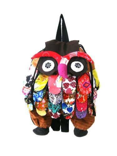 Brown Owl Patchwork Back Pack Bag Recycled Handmade Recycled Patchwork
