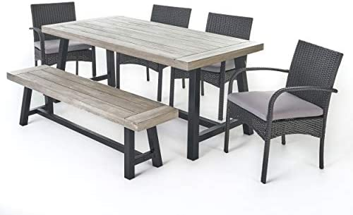 Christopher Knight Home 303906 Louise Outdoor 6 Piece Wicker Dining Set Finish Acacia Wood Table and Bench Water Resistant Pcs