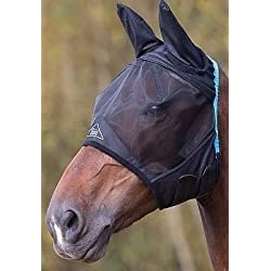 Shires Fine Mesh Fly Mask With Ears (XFull, Black)